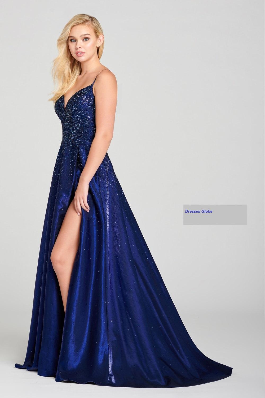Sapphire blue prom dress A-line