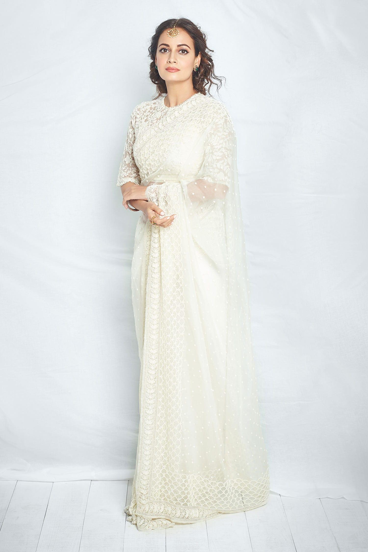 Niharika Kamani Organza White Saree with blouse