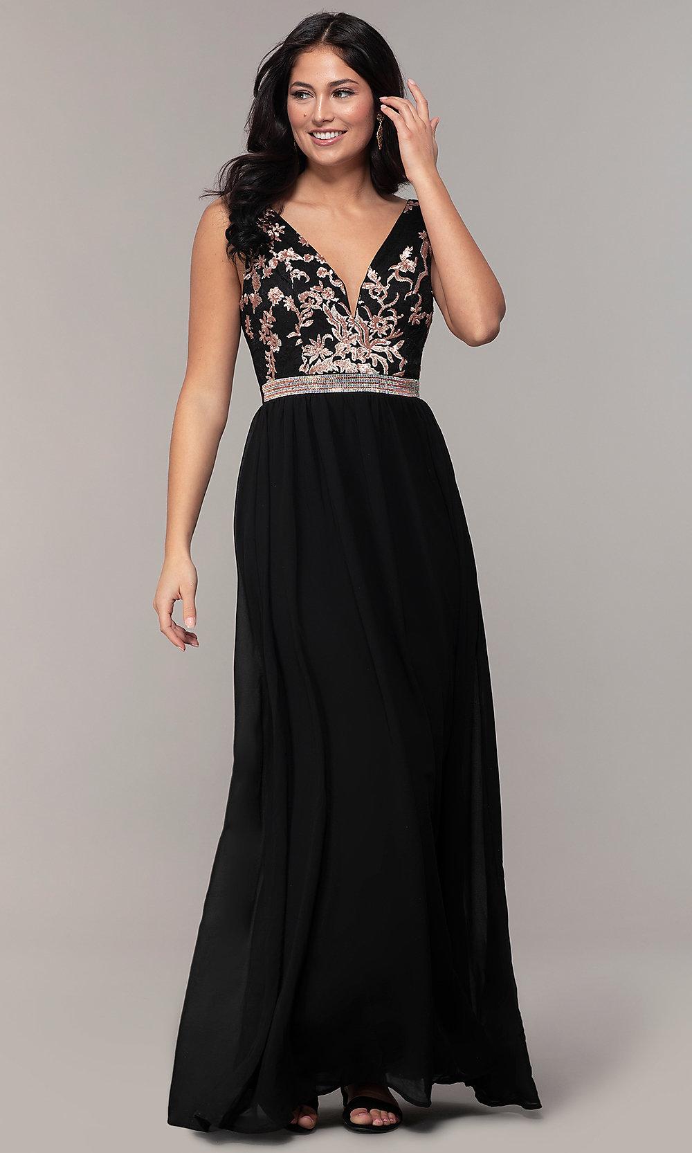 Long sequin embellished black prom dress