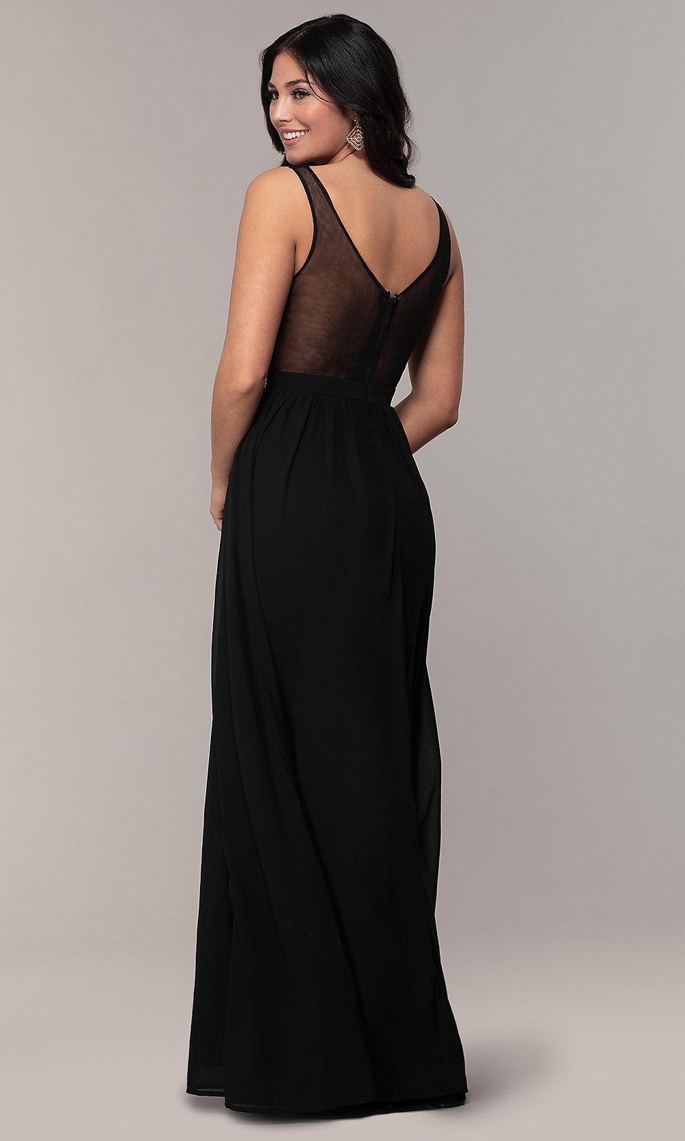 Long sequin embellished black prom dress back-side