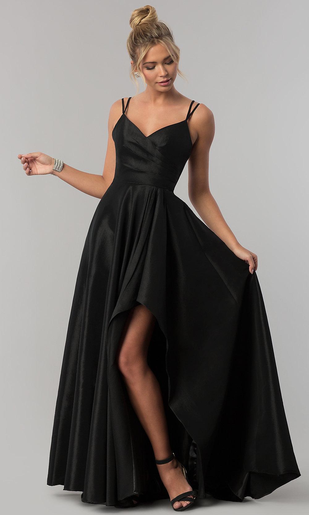 Stretch-taffeta high-low black prom dress