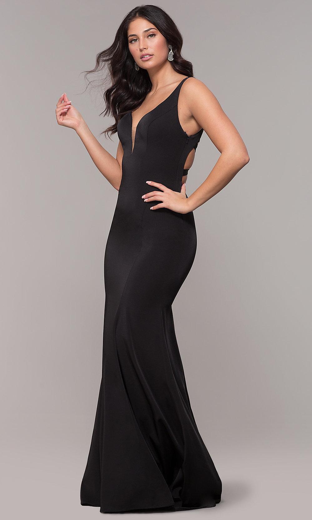 Long open-caged-back Black prom dress