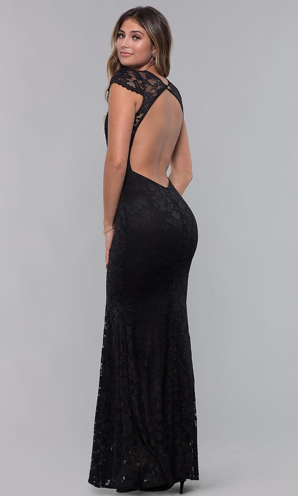 Long open back V-neck black prom dress back-side