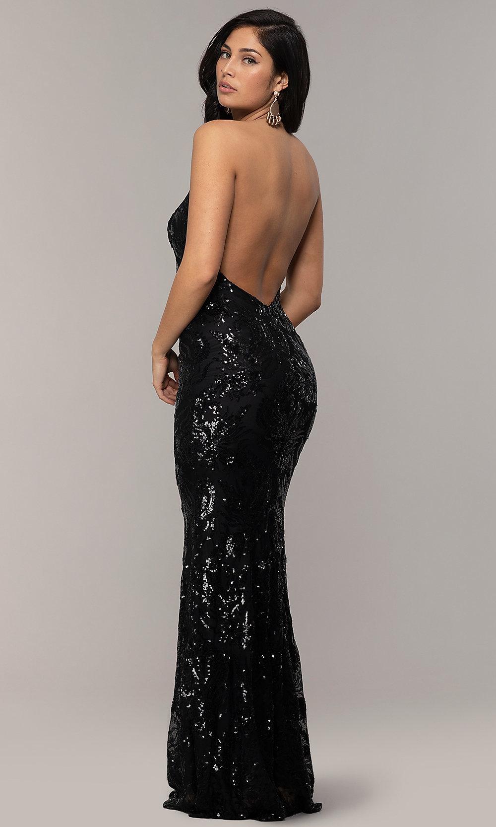 halter V-neck long black prom dress back-side