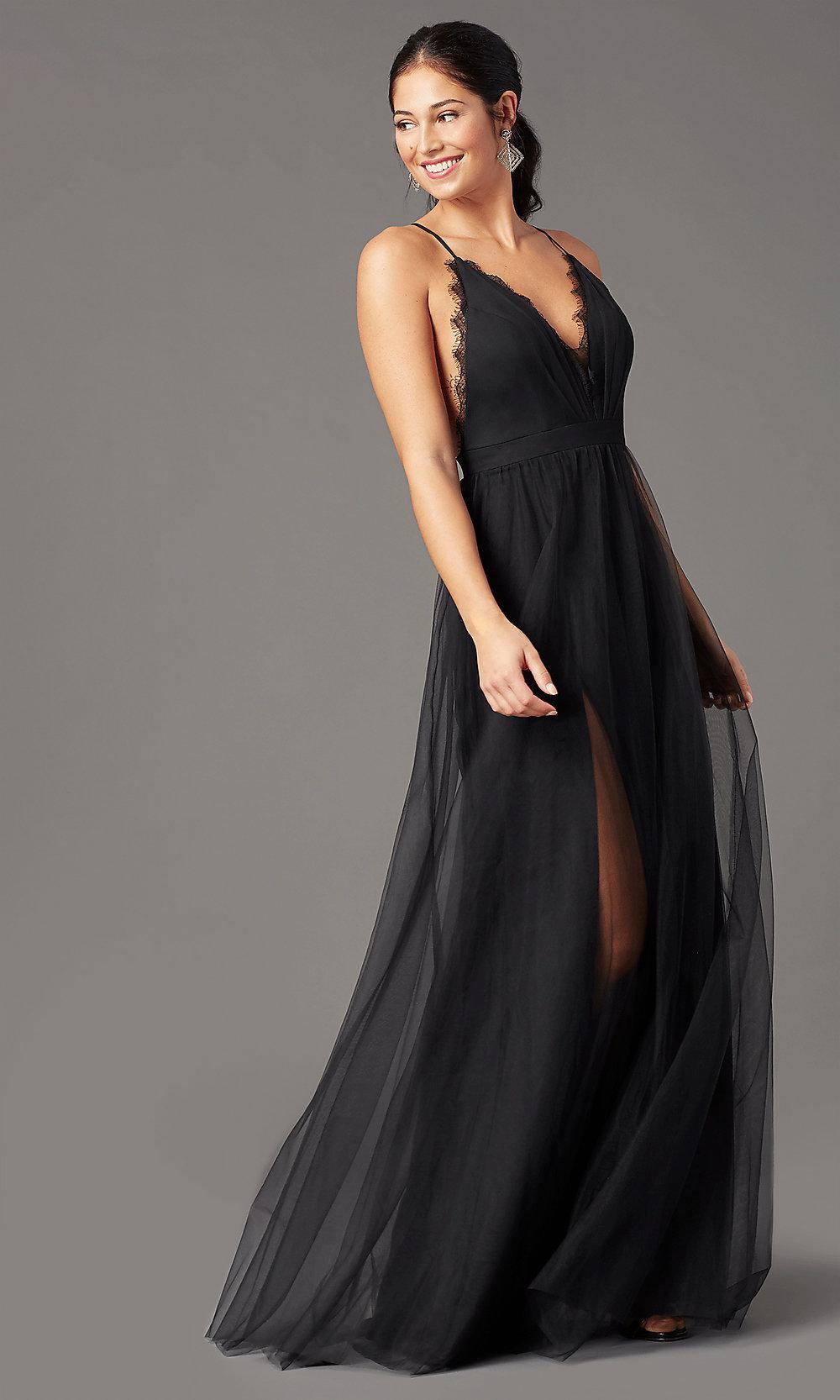Open back blacked prom dress