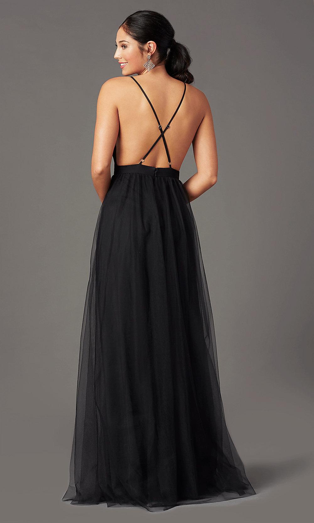 Open back blacked prom dress back-side