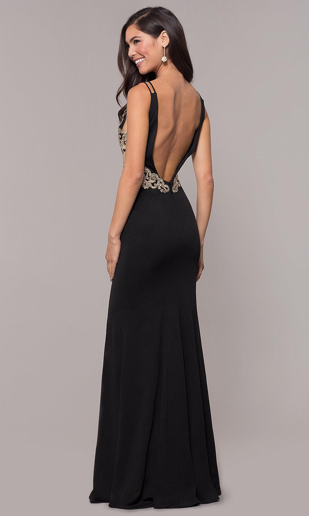 long V-neck blacked prom dress back-side