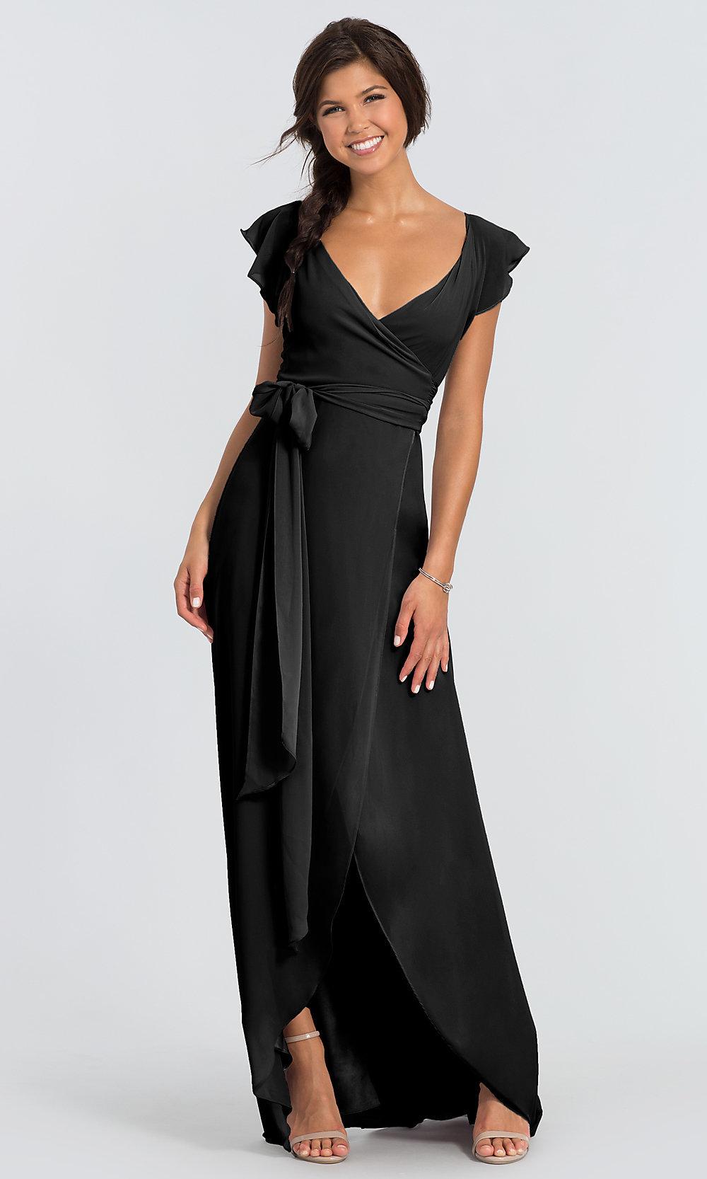 Sleeved dorian long black prom dress