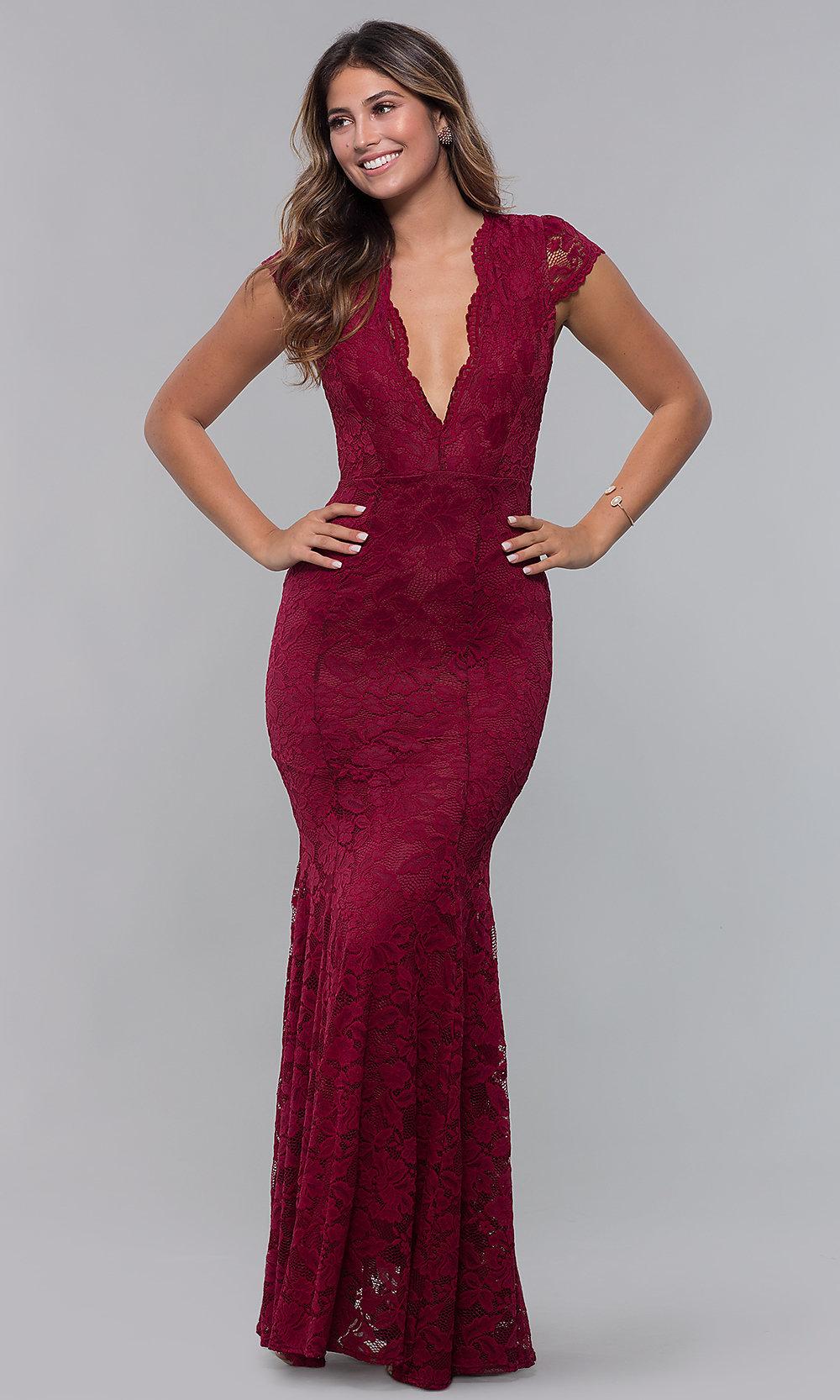 Long open back V-neck red prom dress