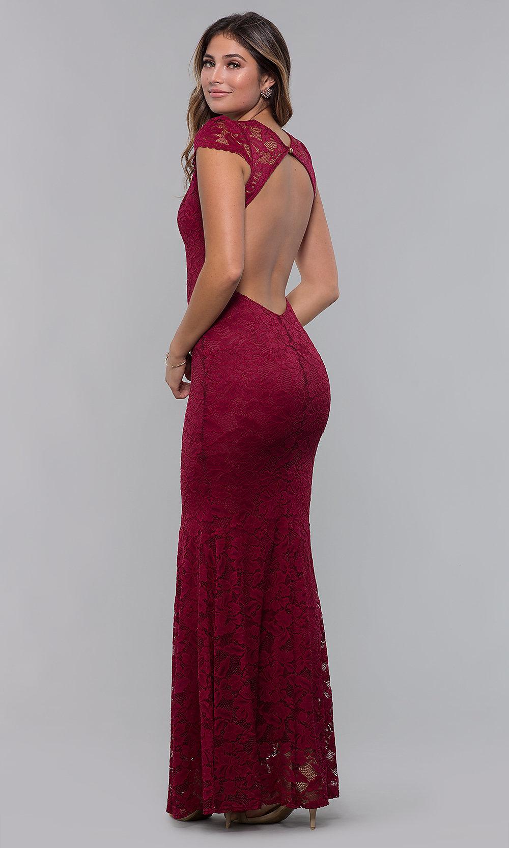 Long open back V-neck red prom dress back-side