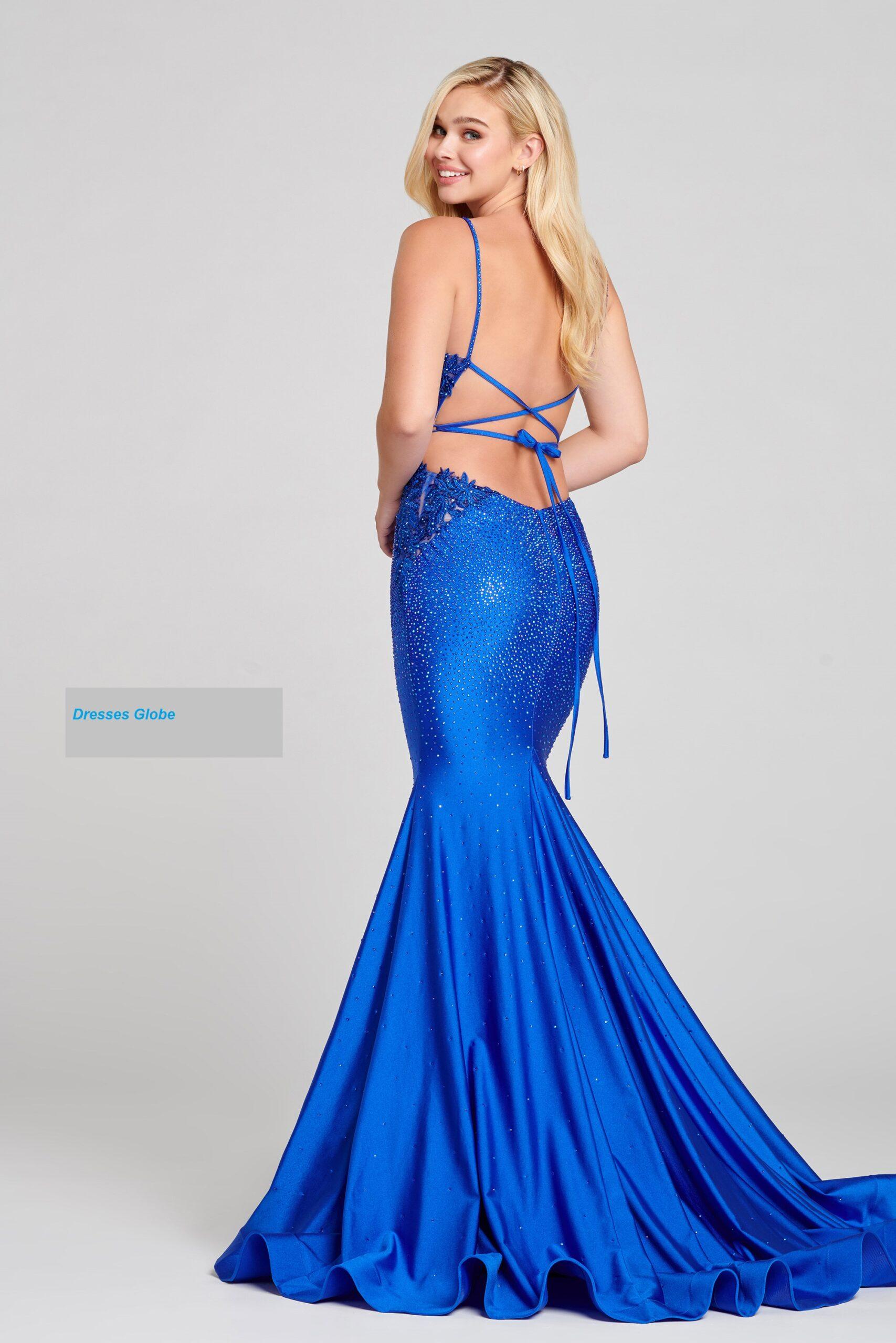 Blue Prom Dress V-neck style sleeveless back-side