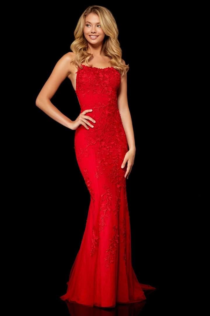 Sherri hill sexy open back red prom dress