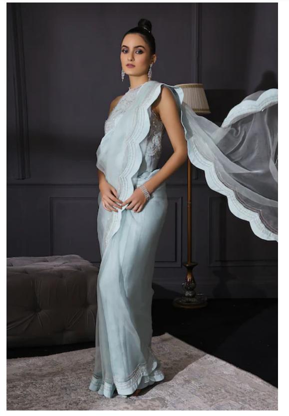 Organza light blue saree