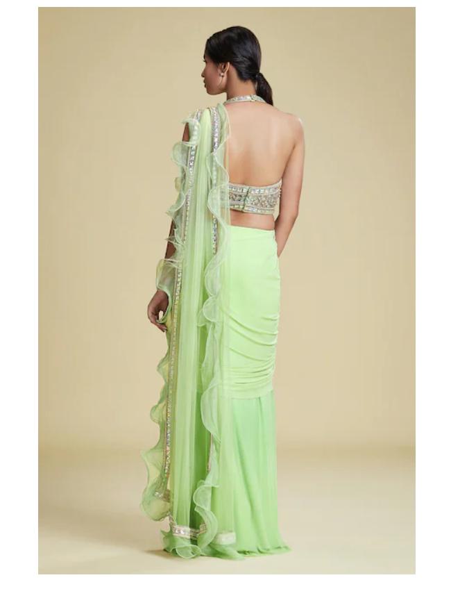 Cherie D Organza green Saree back-side