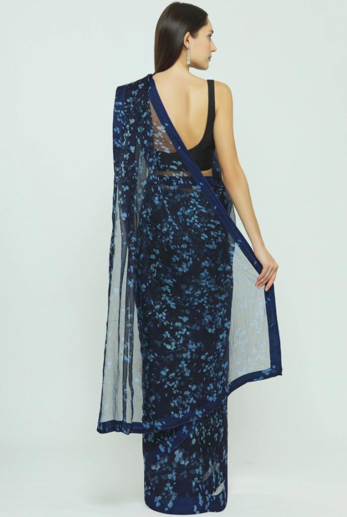 Anvila Organza Blue saree back-side