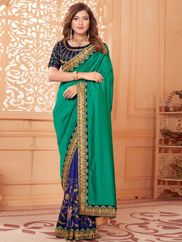 Solid Bordered half saree