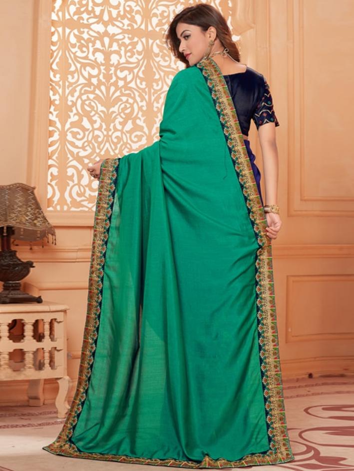 Solid Bordered half saree back-side