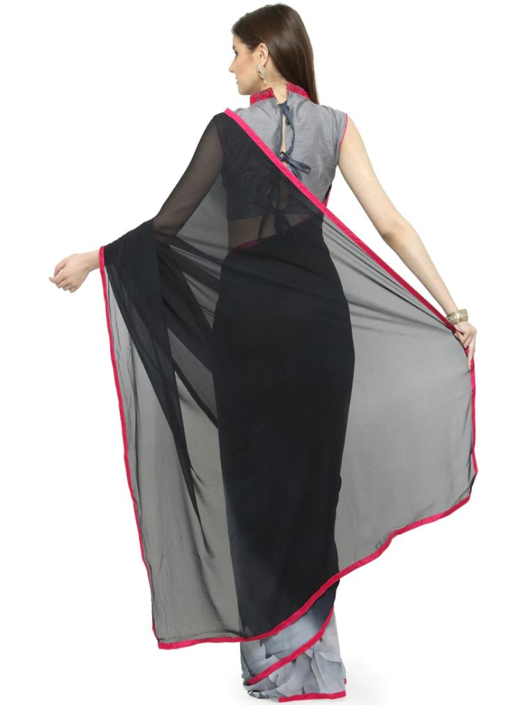 Black Georrgette Half saree back-side