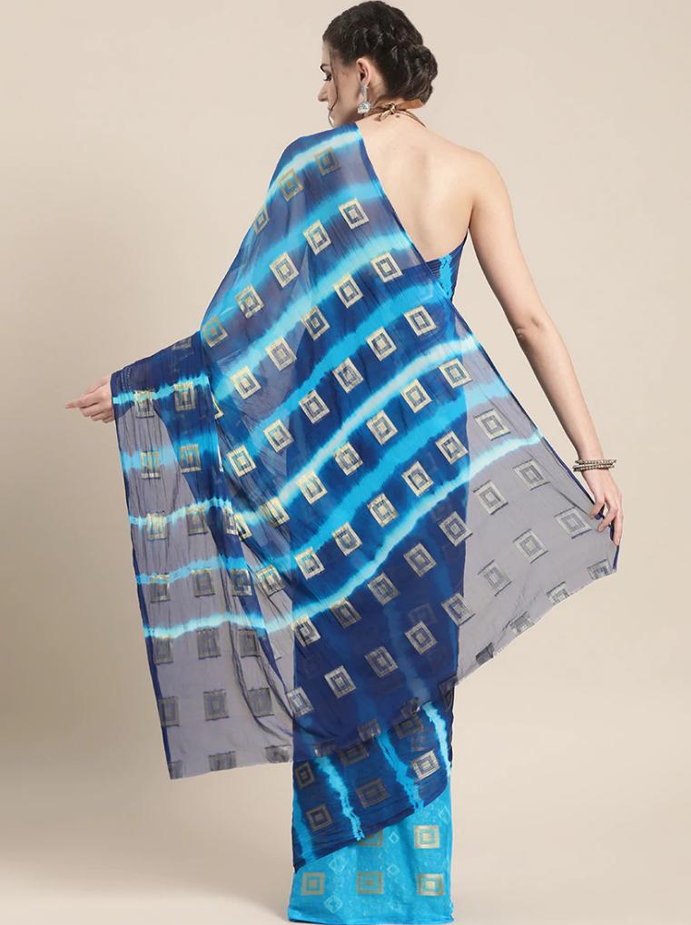 Printed half saree back-side