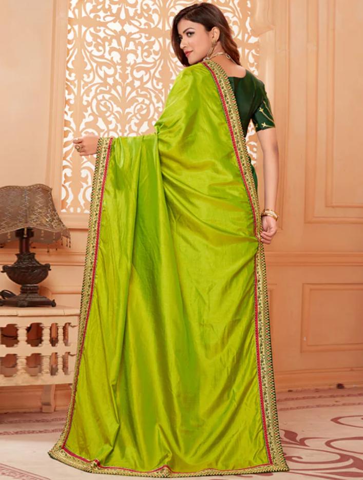 Solid Bordered yellow half saree back-side