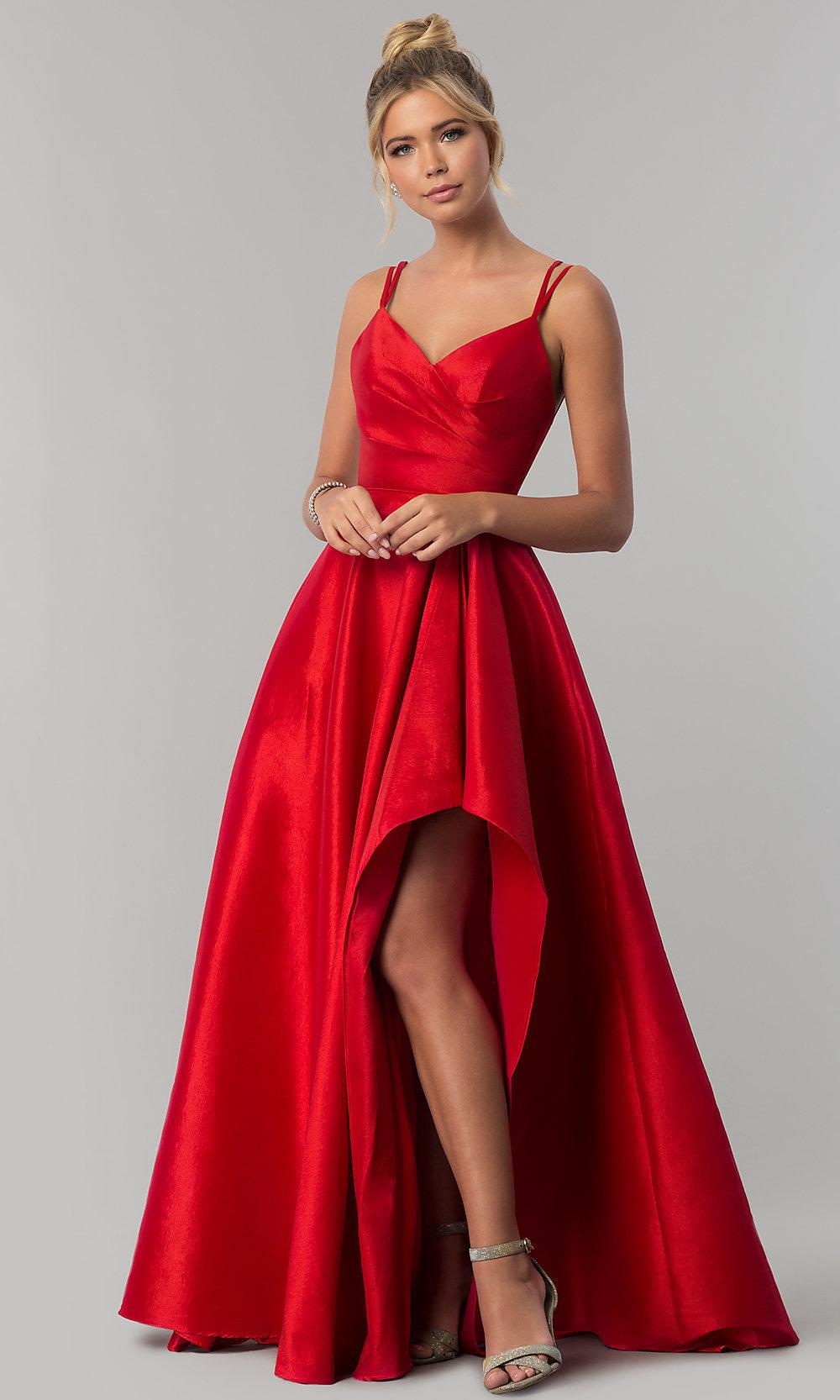 Stretch-taffeta high-low red prom dress