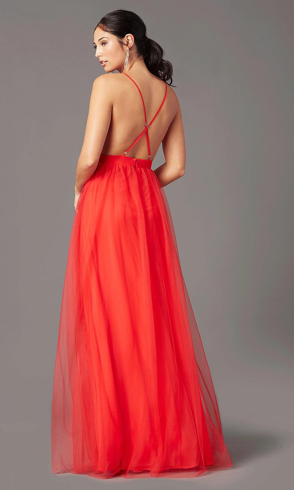 Open back Red prom dress back-side