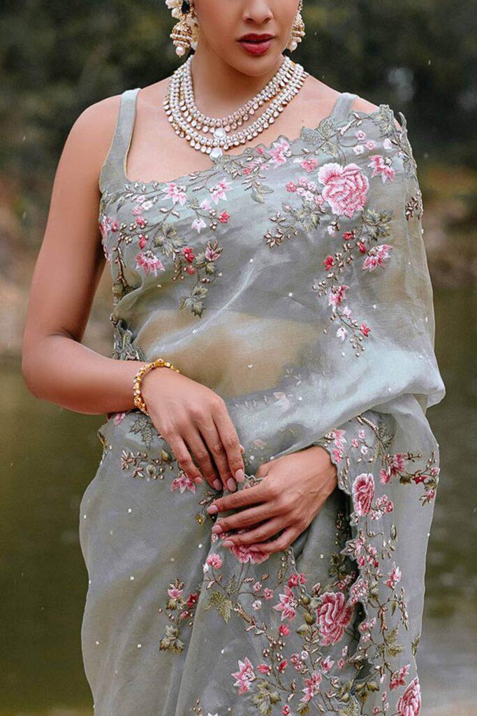 Annushree Reddy Organza Light Green Saree Blouse