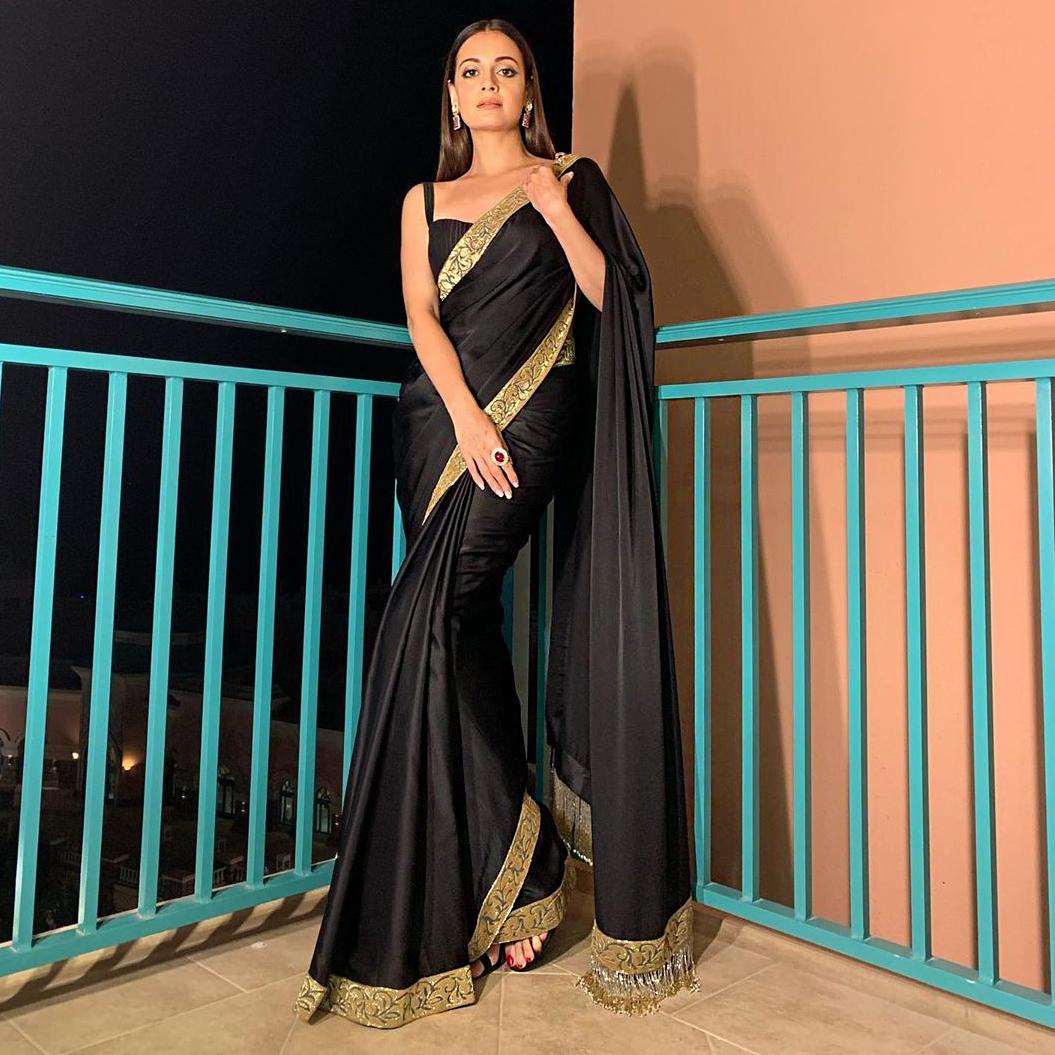 Indian Actress Dia Mirza in Black Saree