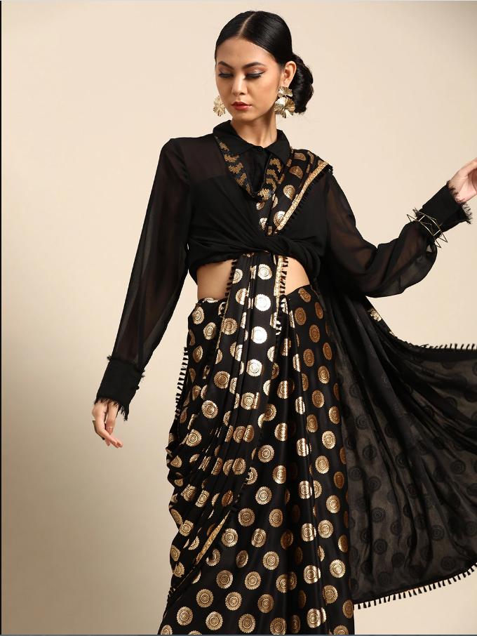 Indian Black & Golden Satin Foil Printed Saree