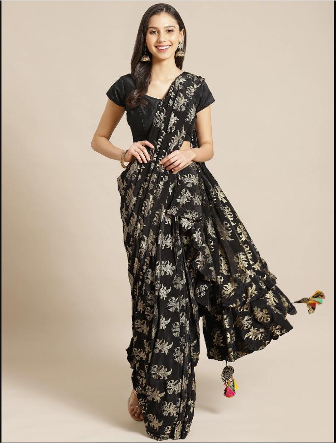 Indian Black & Golden Pure Crepe Foil Printed Ruffled Designer Saree