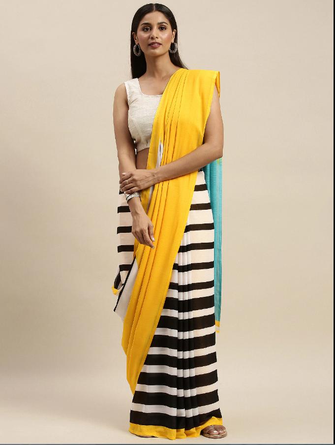 Indian Black & White Pure Georgette Striped Saree