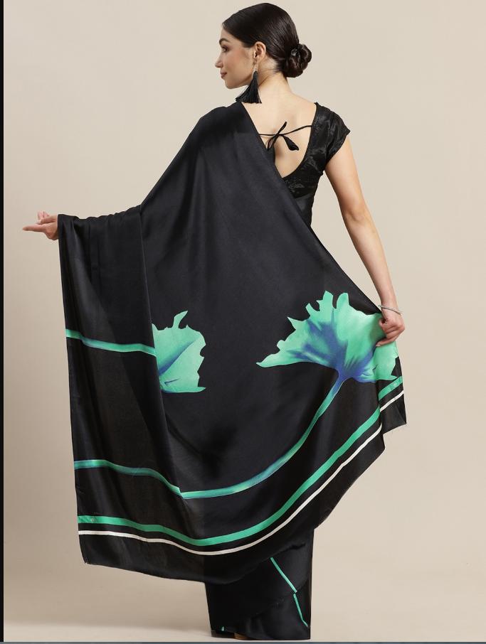 Indian Black & Green Printed Saree