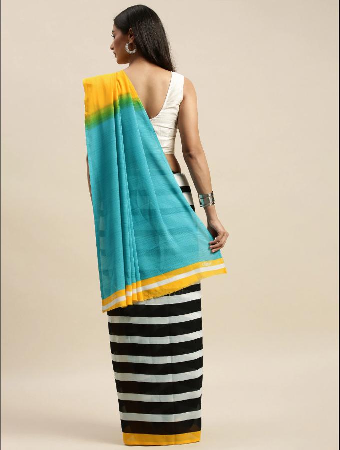 Indian saree Black & White Pure Georgette Striped Saree
