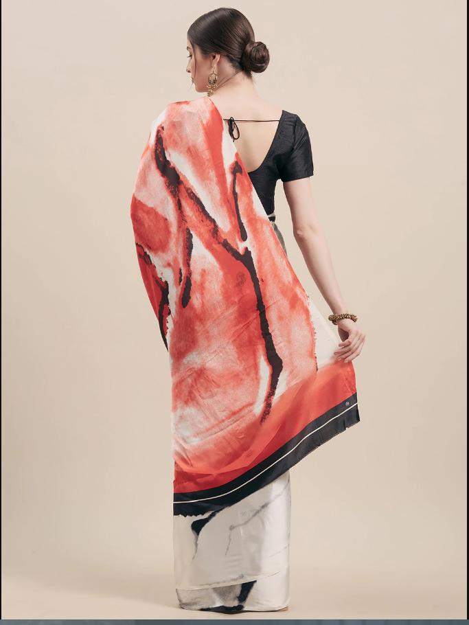 Indian White & Black Satin Printed Saree