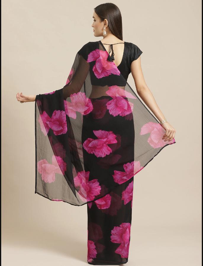 Indian Black & Pink Floral Printed Saree