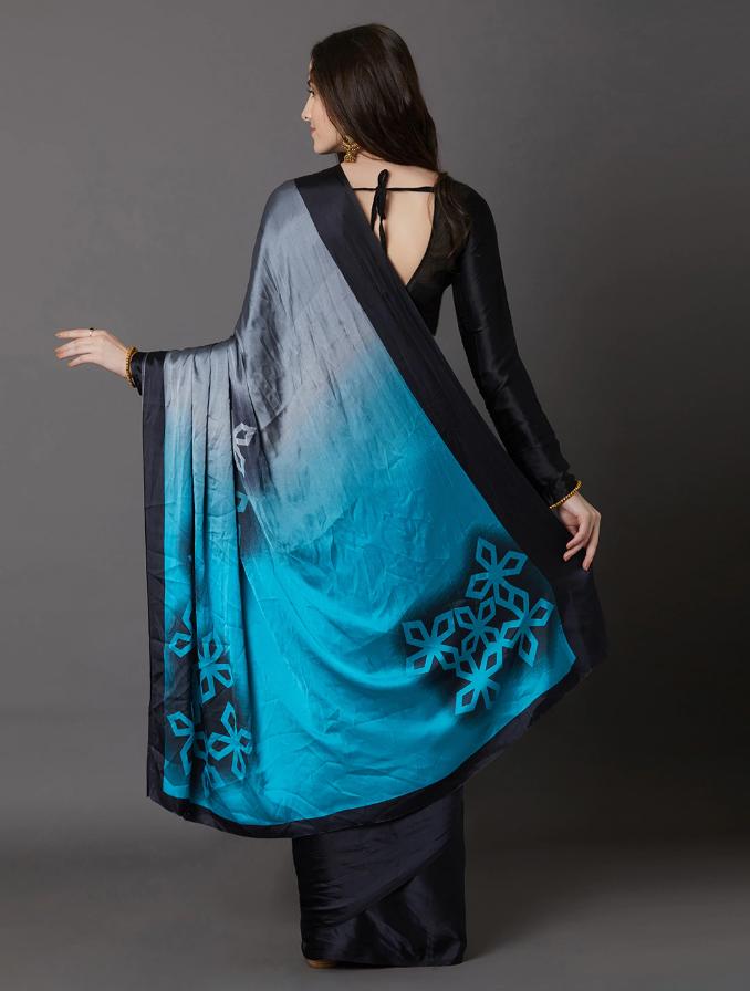 Indian Black & Blue Poly Crepe Printed Saree