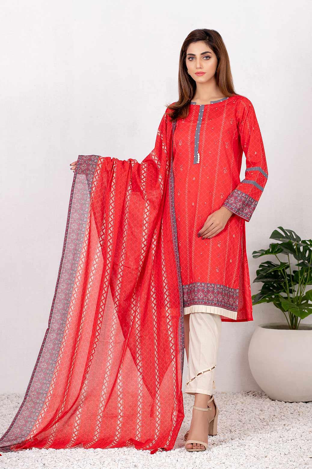 Bonanza Satrangi Red Lawn Summer Suit